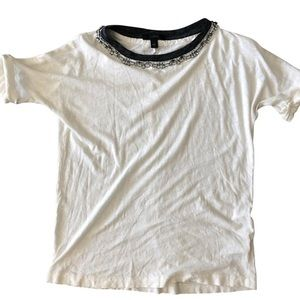 JCrew White Crystal Jewel Neckline Tee Shirt